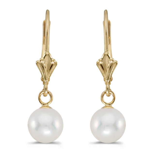 14k Yellow Gold 8 5 Mm Freshwater Cultured Pearl Leverback Earrings