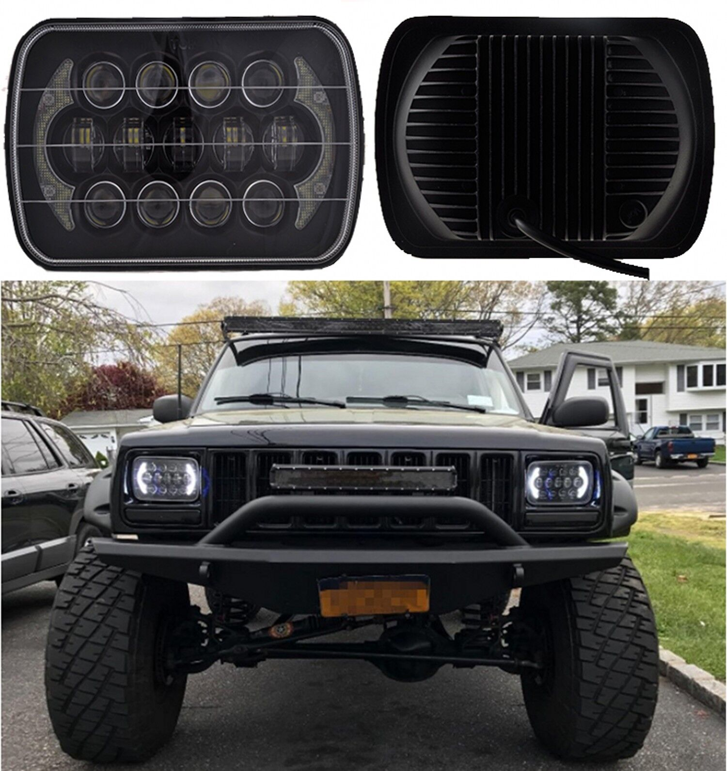 85w cree 7x6'' led headlight hi-lo beam halo drl bulb fr jeep xj