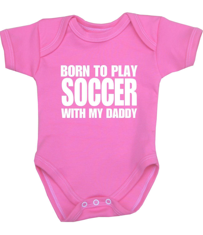 Baby Boys Girls Clothes Play Soccer Daddy Bodysuit Vest Fun Slogan