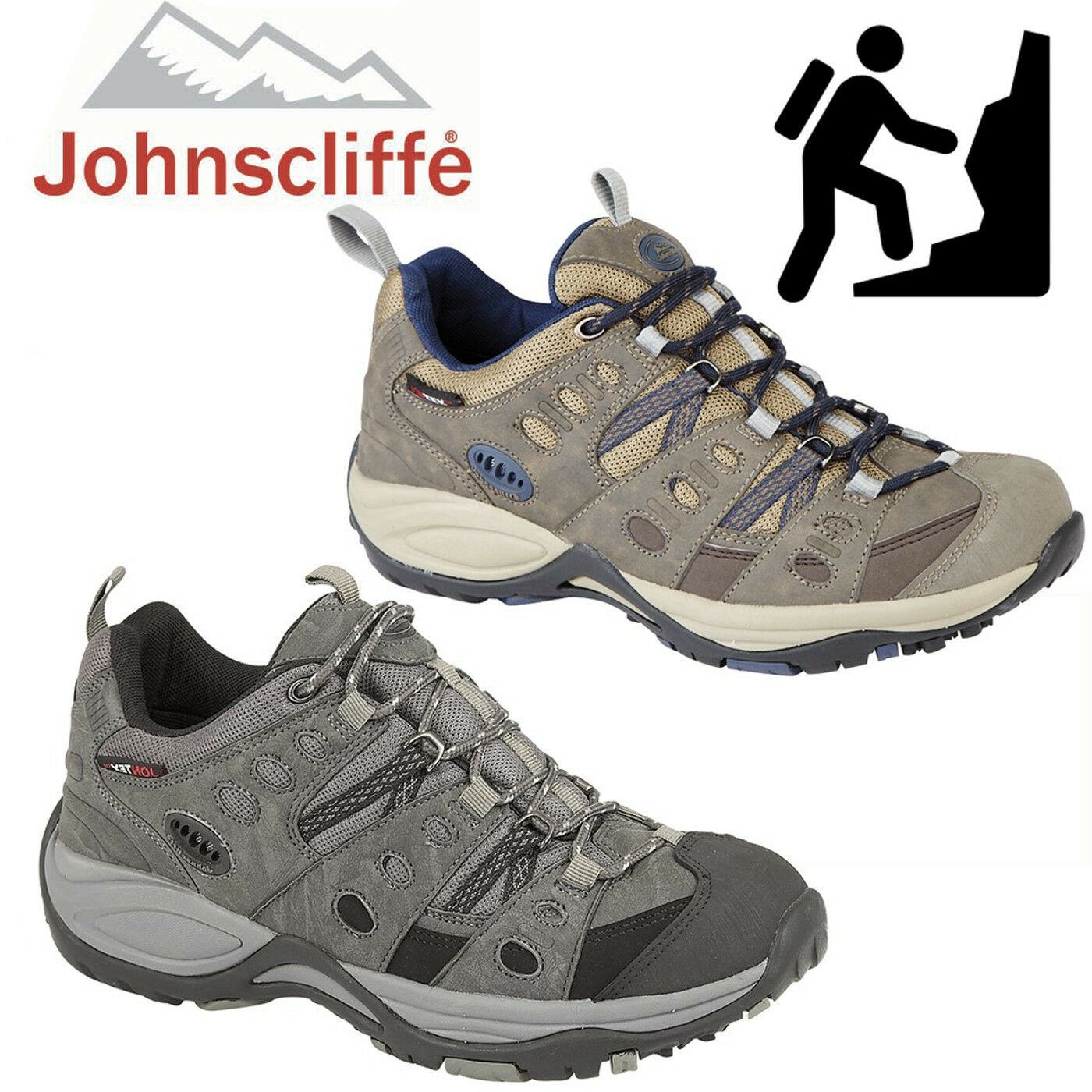 f099ee450b2 MENS JOHNSCLIFFE WATERPROOF HIKING SHOES SIZE UK 4 - 14 TRAINERS ...