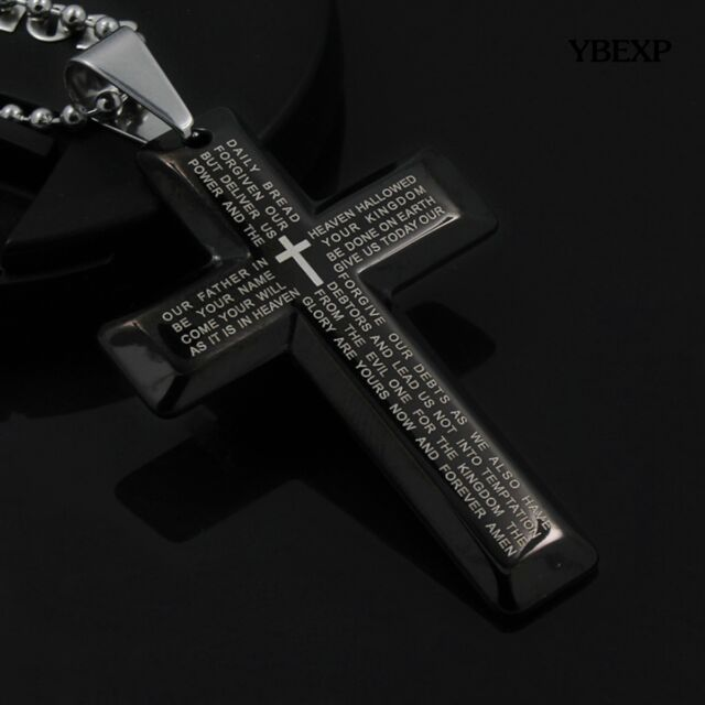 Stainless steel cross pendant black silver necklace usa men women new gift unisexs men stainless steel cross pendant black silver necklace usa aloadofball Images
