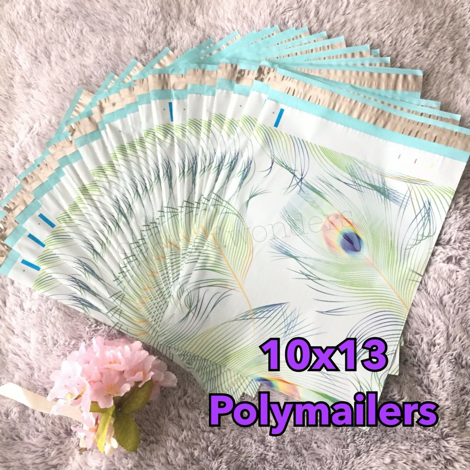 50 DESIGNER Printed Poly Mailers 10x13 Envelopes Bags Peacock