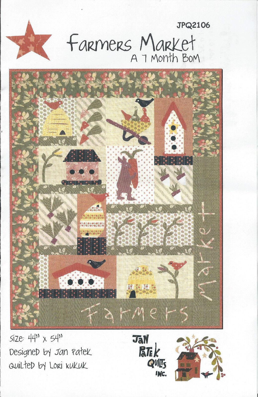 Quilt Applique Pattern Jan Patek Farmers Market 7 Month Bom 44 X 54