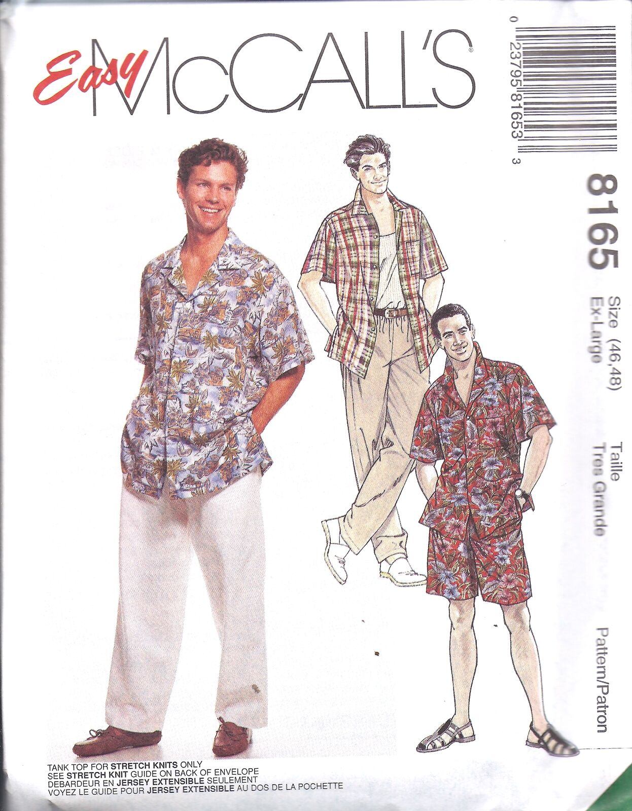 8165 mccalls sewing pattern mens casual shirt tank top pants picture 1 of 2 jeuxipadfo Gallery