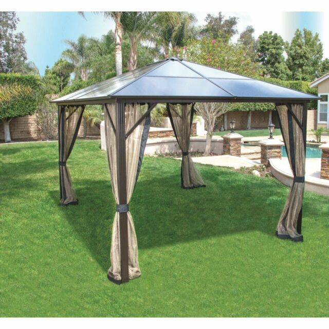 Pacific Casual Black Hardtop 12 x 10-foot Gazebo with Sheer Mosquito Netting : pacific casual canopy - memphite.com