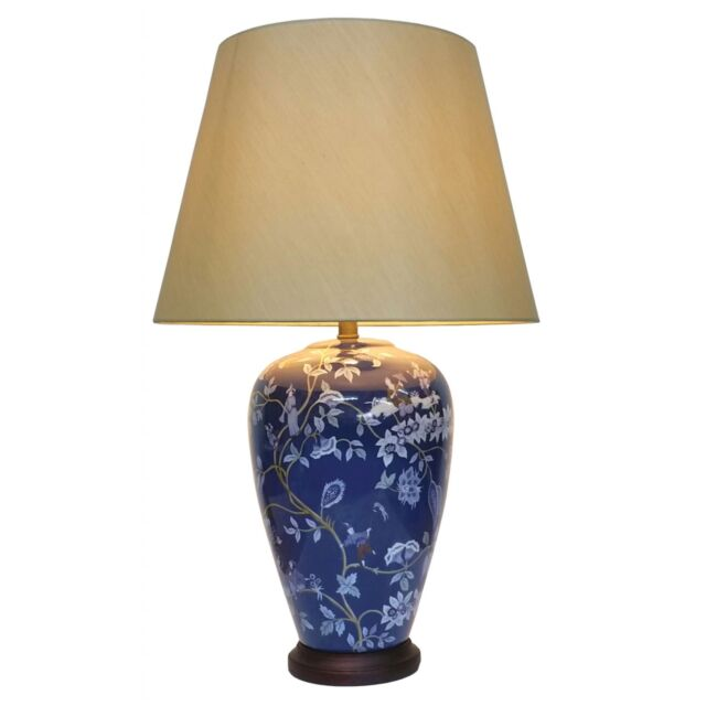 Pair of chinese vase table lamps with shades blue fairy vine pair of chinese vase table lamps with shades blue fairy vine pattern aloadofball Images