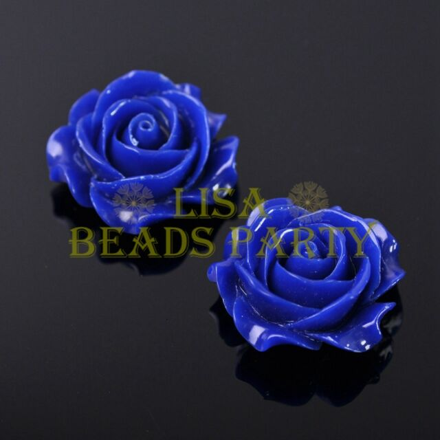 New 2pcs 35mm Big Flower Resin Charms Loose Spacer Beads Findings Deep Blue