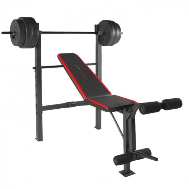 Weight Bench With Weights Home Gym Lifting Press Leg Workout Bar Set 100 Lbs New