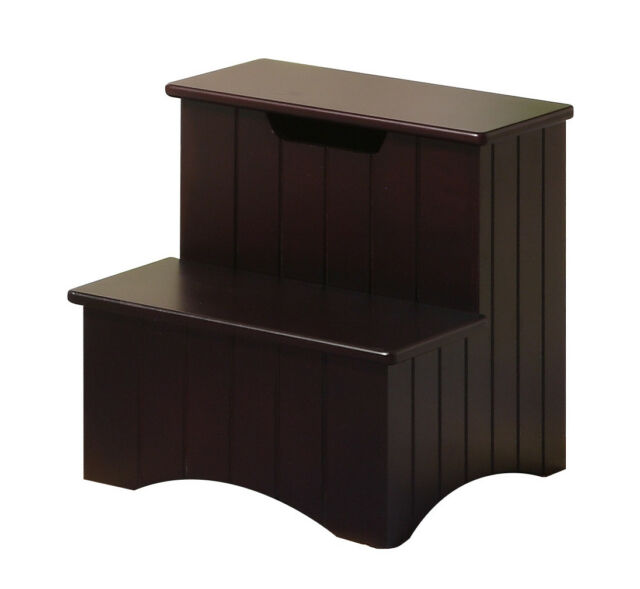2k Designs Dark Cherry Finish Wood Bedroom Step Stool With Storage ...