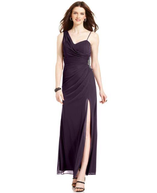 Xscape Purple Chiffon One Shoulder Embellished Draped Gown 12p   eBay
