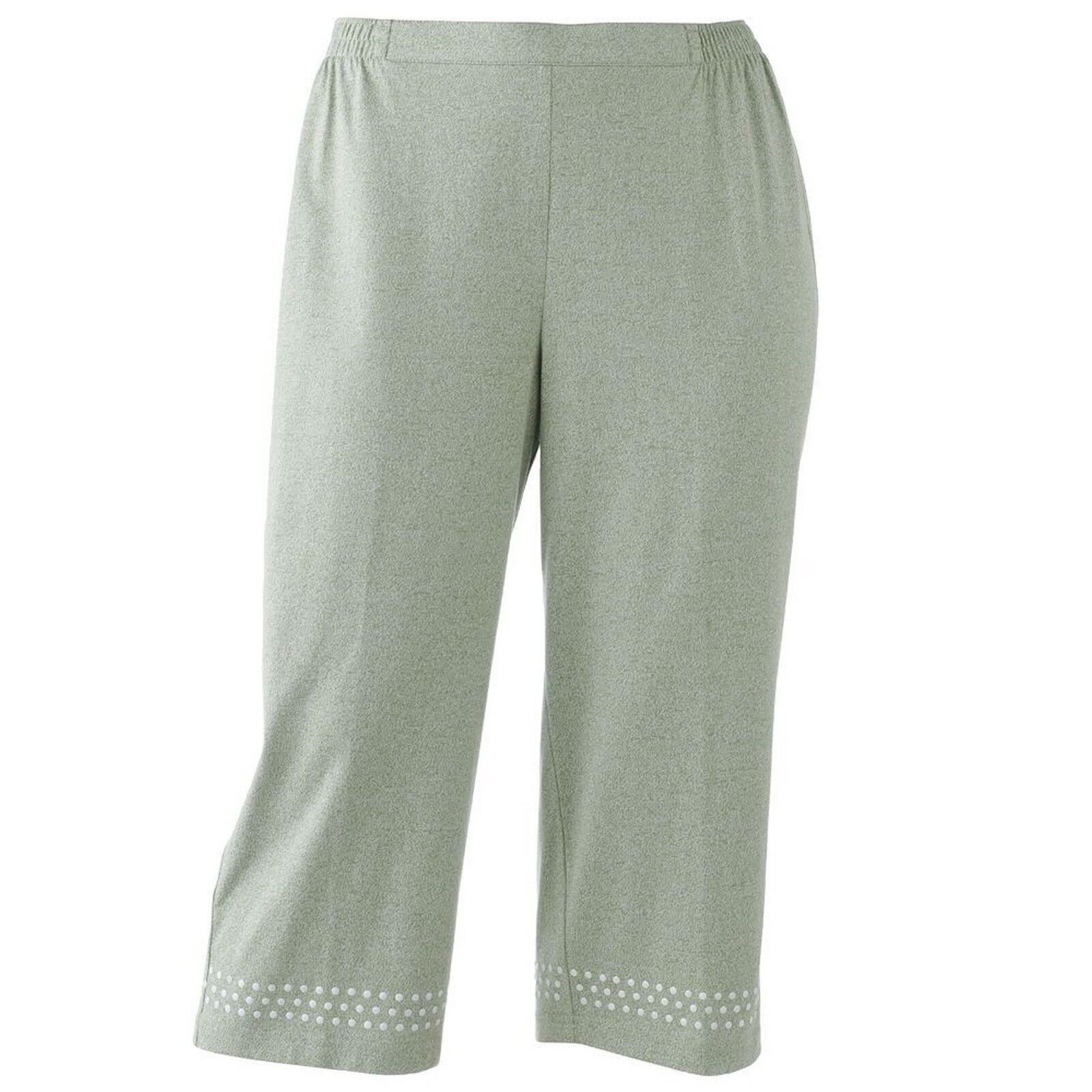 c65f27179b6 Women s Cathy Daniels Pull on Capri Pants Neutral Sage Plus Size 2x ...