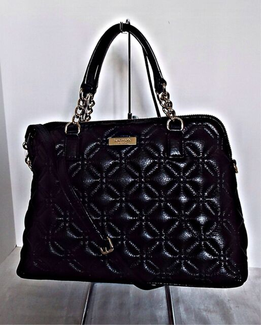 Kate Spade Small Rachelle Black Quilted Leather Satchel Crossbody ... : quilted kate spade handbag - Adamdwight.com