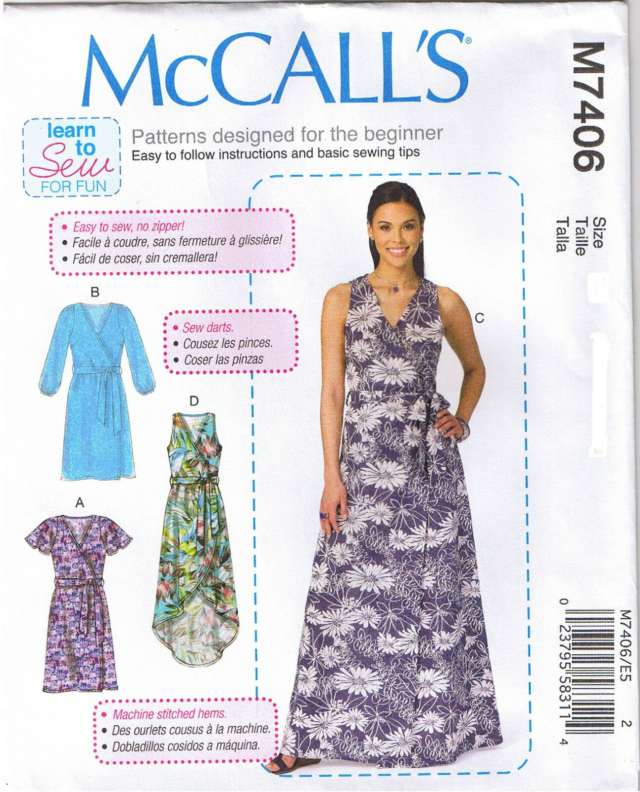 Mccalls 7406 misses wrap dresses and belt sewing pattern learn to picture 1 of 2 jeuxipadfo Choice Image