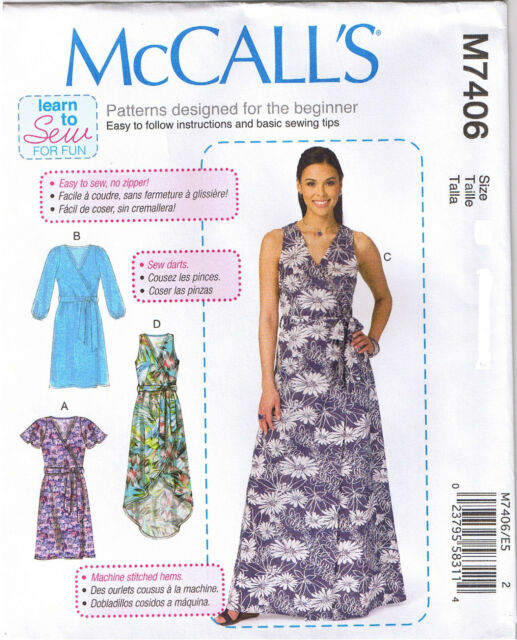 Easy Wrap Dress Belt Learn to Sew for Fun McCalls Sewing Pattern Sz ...