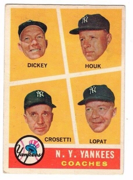 1960 Topps #465 New York Yankees Coaches - Bill Dickey, Excellent Condition'