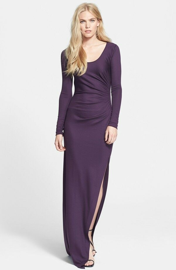 Diane Von Furstenberg DVF Purple JEWEL Wool Jersey Maxi Dress Gown 6 ...