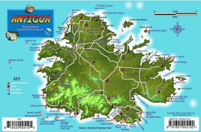Antigua dive map coral reef creatures guide laminated fish card franko maps antigua reef dive creature guide 55 x 85 inch gumiabroncs Images
