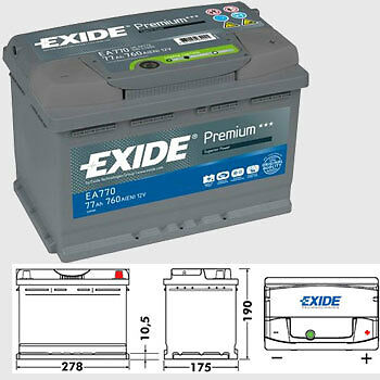 exide premium car battery 77ah type 096 760cca 4 years oem replacement ebay. Black Bedroom Furniture Sets. Home Design Ideas