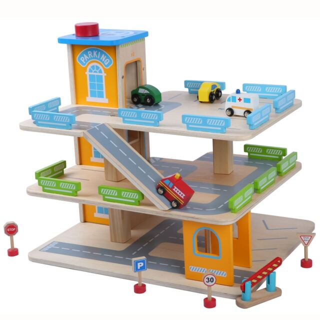 Wooden Car Park With Lift Toy Cars Fun Boys By Leomark Ebay