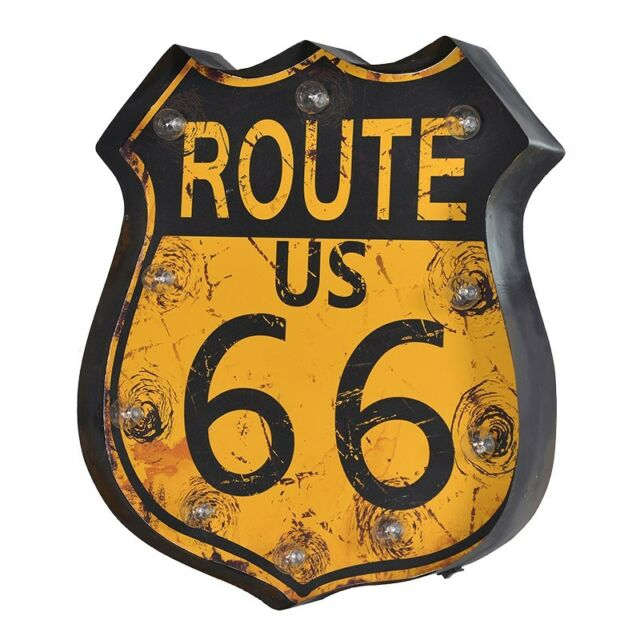 Large LED Metal Rustic Route 66 Wall Art Vintage Games Room Sign | eBay