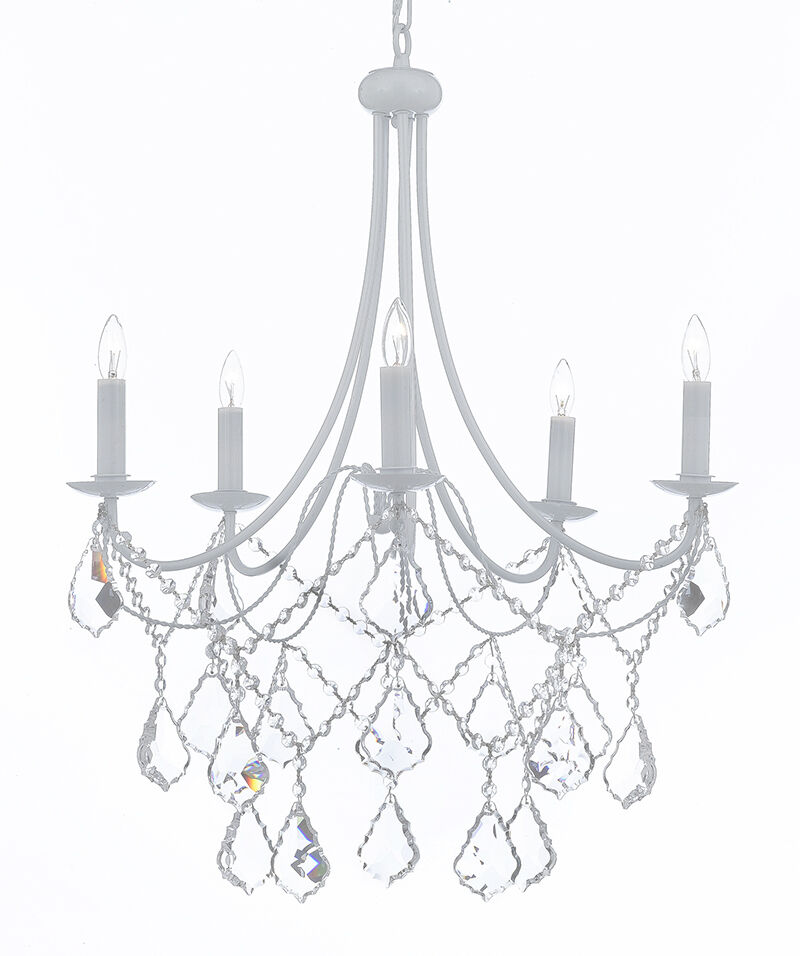 Wrought iron crystal white chandelier lighting country french picture 1 of 1 aloadofball Image collections