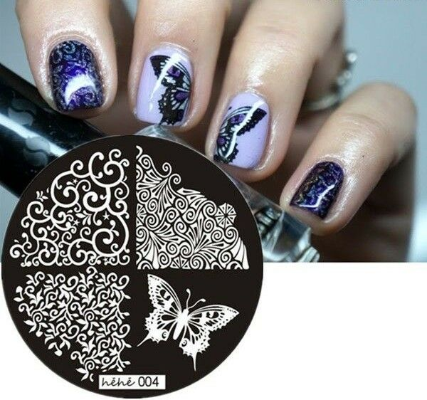 Nail Art Stamping Plates Image Plate Decoration Lace Butterflies ...
