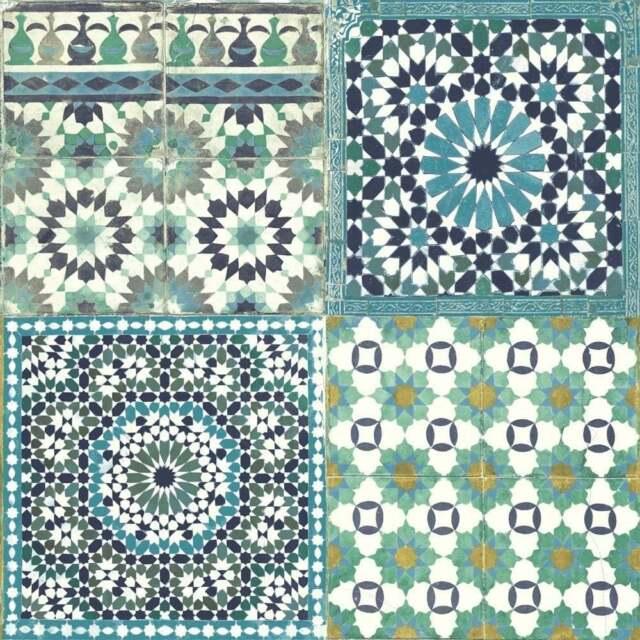Grandeco Botánica Marroquí azulejo Patrón de papel tapiz retro ...