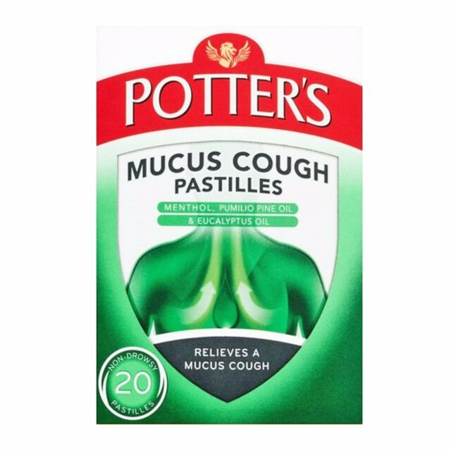 Potters Mucus Cough Pastilles with Menthol and Eucalyptus Oil - 20