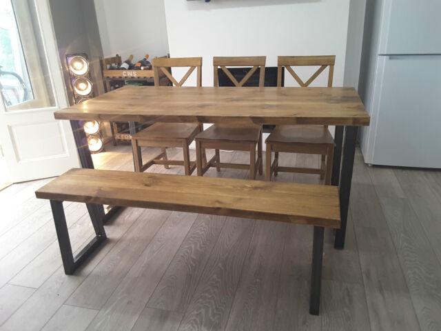Brinkley U Frame Industrial Dining Table Metal 200 X 80 Cm 8 Seater Brown