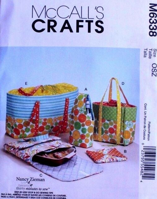 Casserole Carriers Hot Pad and Picnic Food Totes McCalls M6338 ...