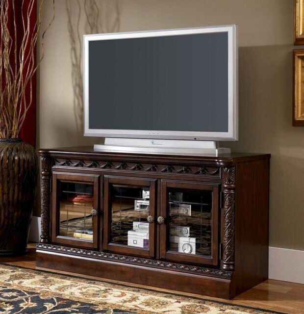 Ashley Furniture Olean Ny: North Shore Dark Brown Medium TV Stand W553-31 By Ashley