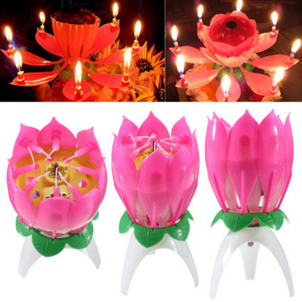 Flower Lotus Lights Music Musical Birthday Candle Cake Topper Gift