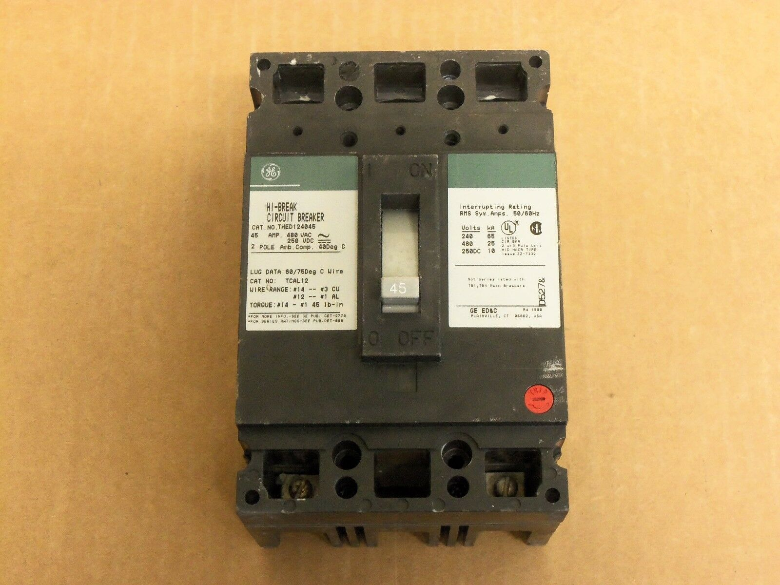 GE THED THED124045 45 Amp 2 Pole Circuit Breaker | eBay