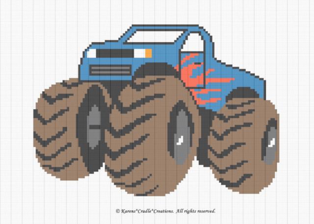Monster Truck Color Graph Afghan Crochet Pattern Ebay