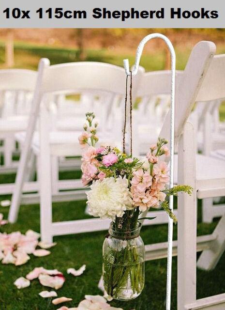 10 X 115cm White Wedding Party Garden Shepherd Hook Crook Lantern ...