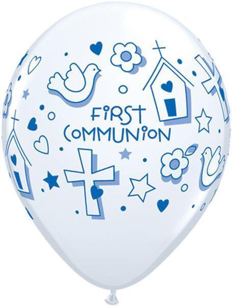 "First Communion Symbols Boy Qualatex 11"" Latex Balloons x 5"