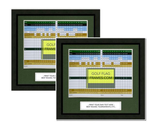 2pk 11x10 Black Golf Scorecard Frame Blk-001 Green Mat Holds Approx ...