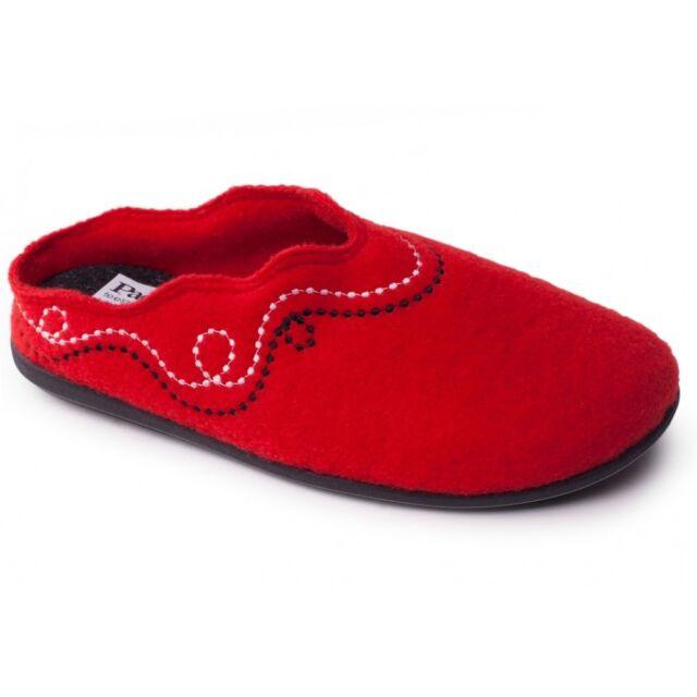 Padders ASPEN Ladies Womens Felt Wide Fit Slip On Comfortable Soft Slippers Red