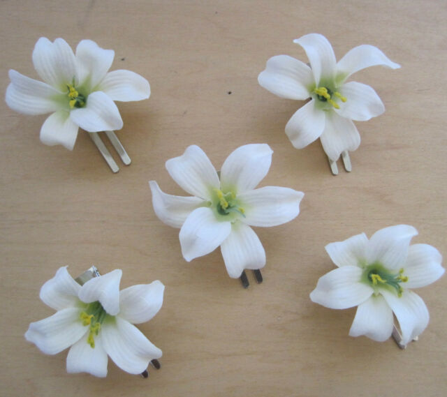 5 piece lot small 2 cream white lily silk flower hair clip wedding 5 piece lot small 2 cream white lily silk flower hair clipwedding mightylinksfo