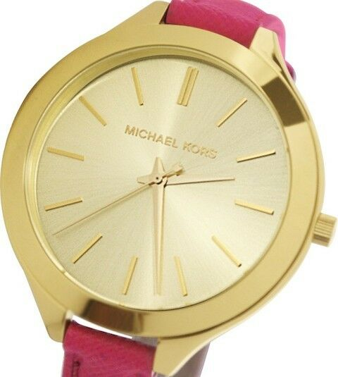 Michael kors slim runway pink leather band gold tone watch womens resntentobalflowflowcomponenttechnicalissues gumiabroncs Image collections