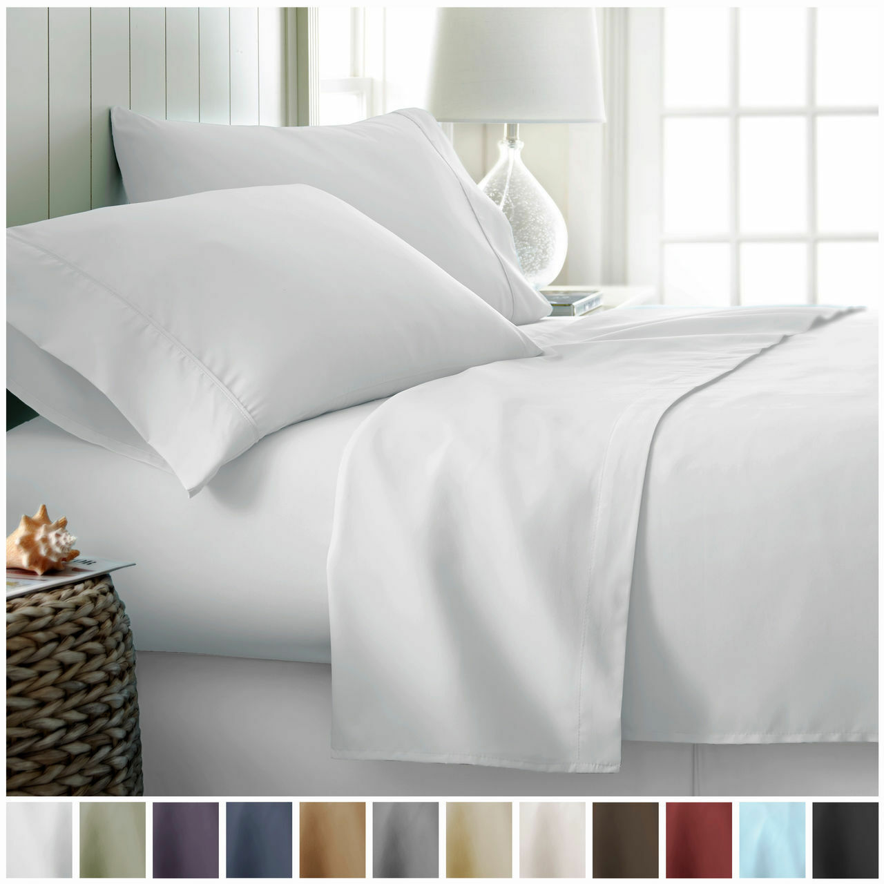 Hotel Collection Egyptian Comfort 4 Piece Deep Pocket Bed Sheet Set Full  White | EBay