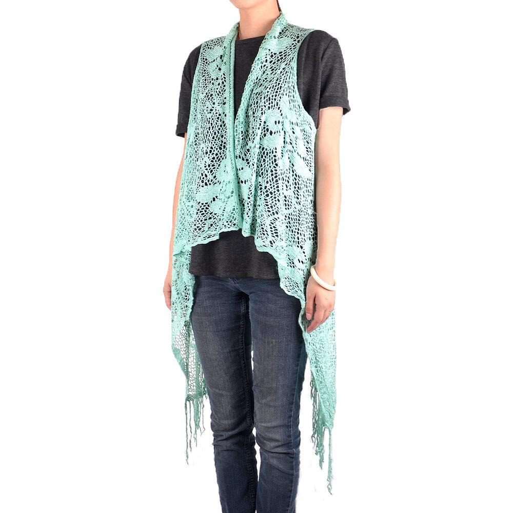 Women's Sleeveless Floral Lace Vest Cardigan Kimono Open Front ...