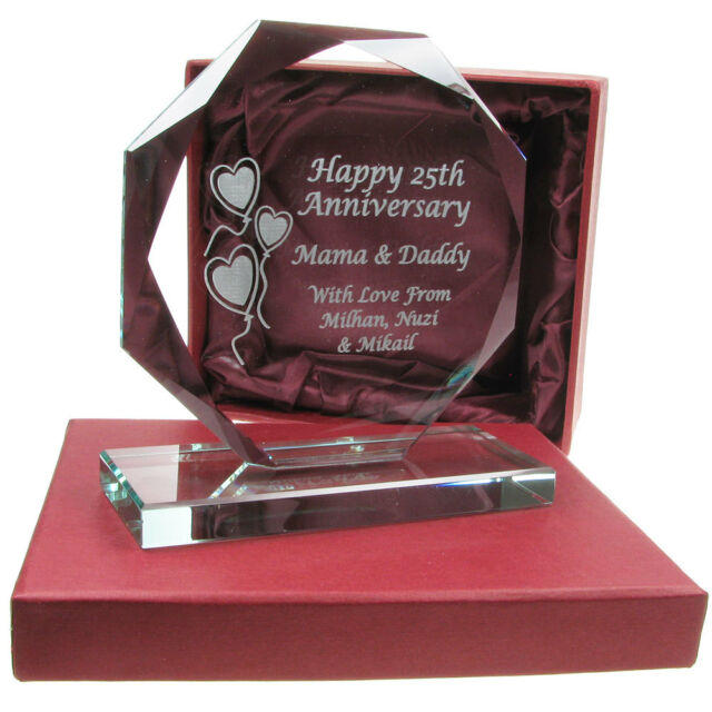 40th Ruby Wedding Anniversary Engraved Cut Glass Gift Idea