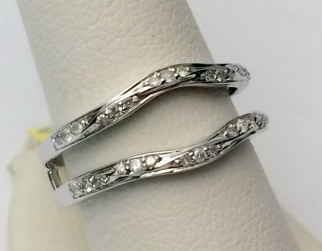 1 4 Ct Solitaire Enhancer Round Diamonds 14k White Gold Ring Guard
