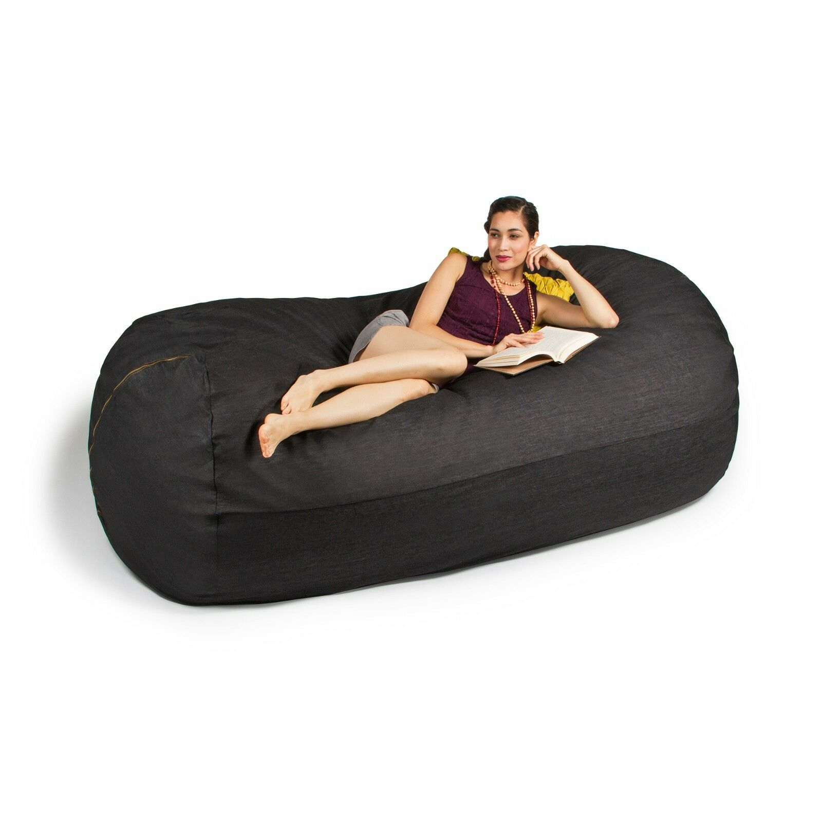 Jaxx 7 FT Giant Bean Bag Sofa Black Denim