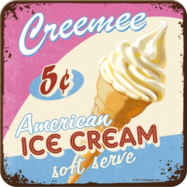 Nostalgic Art Metalluntersetzer American Ice Cream Eis Softeis Unterseite 9x9 #