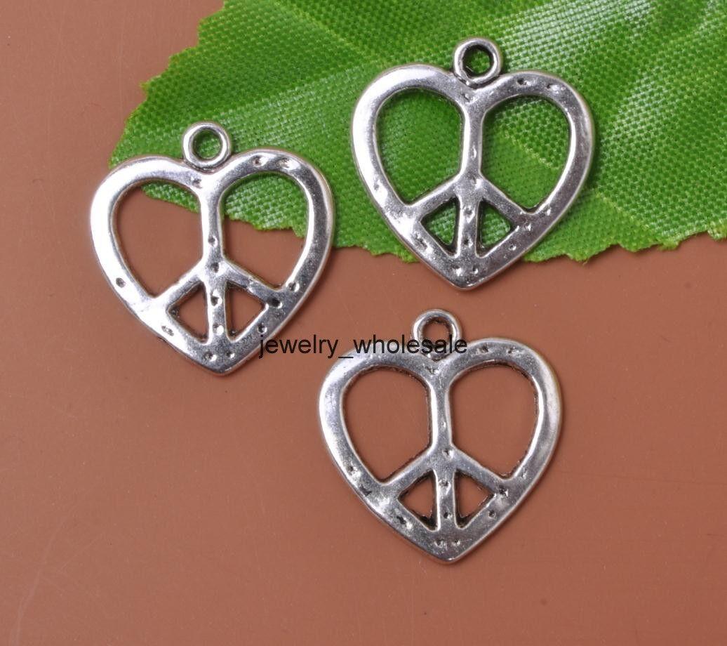 Wholesale 20pcs tibetan silver hearts peace sign charms pendants picture 1 of 2 aloadofball Images