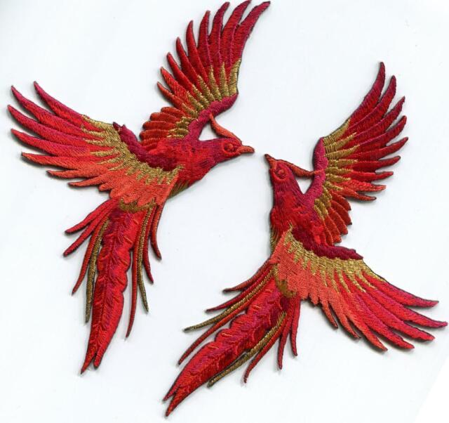 Phoenix phenix crimson red gold birds embroidered appliques iron crimson red gold phoenix phenix birds embr appliques iron on patches s 1329 voltagebd Choice Image