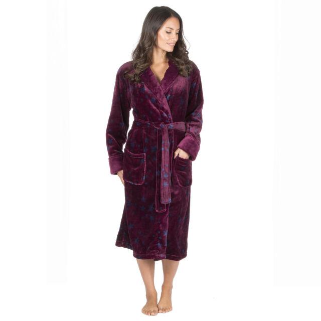 Forever Dreaming Womens Star Print Dressing Gown Fluffy Fleece ...