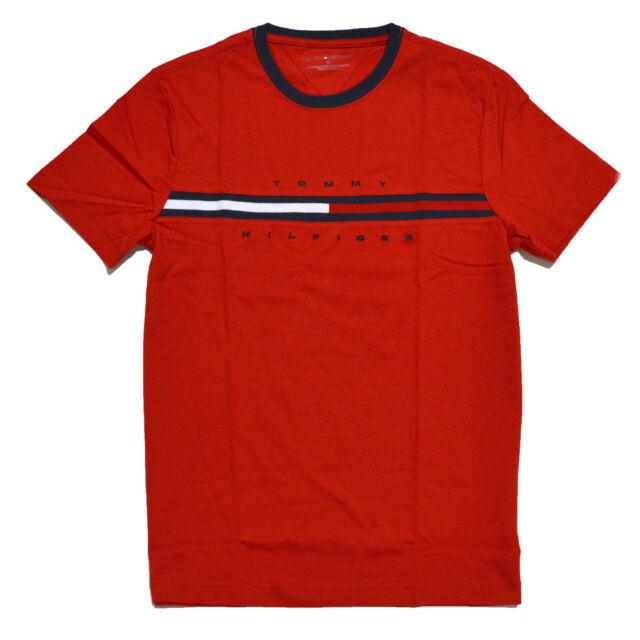 tommy hilfiger mens crew neck t shirt short sleeve graphic tee flag logo l red ebay. Black Bedroom Furniture Sets. Home Design Ideas